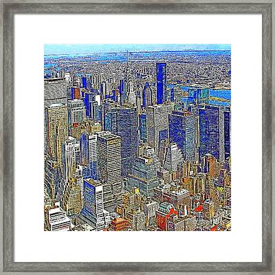 New York Skyline 20130430v4-square Framed Print by Wingsdomain Art and Photography