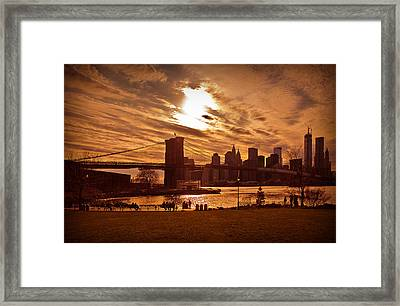Framed Print featuring the photograph New York Skyline And Brooklyn Bridge -- Late Afternoon by Mitchell R Grosky