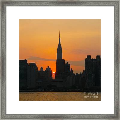 New York Skyline At Sunset Framed Print by Avis  Noelle