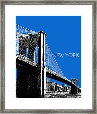 New York Skyline Brooklyn Bridge - Blue Framed Print