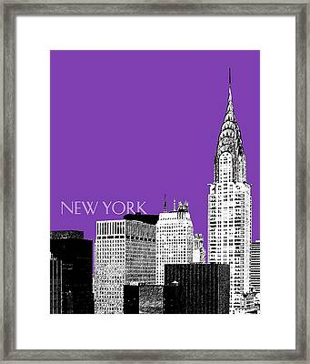 New York Skyline Chrysler Building - Purple Framed Print