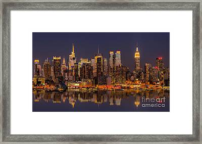 New York Skyline From New Jersey Framed Print by Jerry Fornarotto