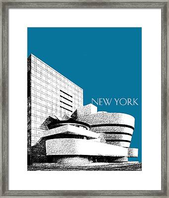 New York Skyline Guggenheim Art Museum - Steel Blue Framed Print