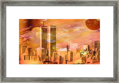New York Skyline Framed Print by Louis Ferreira