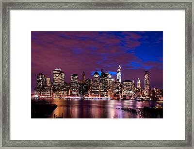 Framed Print featuring the photograph New York Skyline Magic Hour-- From Brooklyn Heights Promenade by Mitchell R Grosky