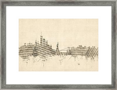 New York Skyline Sheet Music Cityscape Framed Print by Michael Tompsett