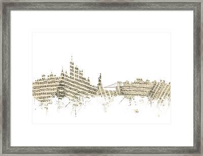 New York Skyline Sheet Music Framed Print by Michael Tompsett