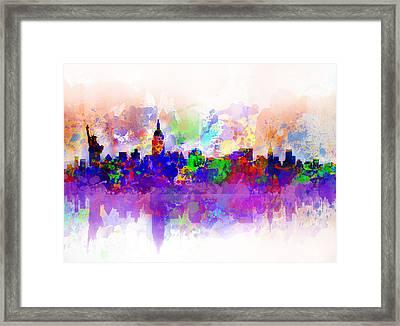 New York Skyline Splats 3 Framed Print by Bekim Art