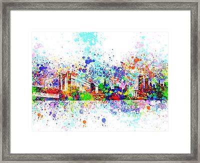 New York Skyline Splats Framed Print