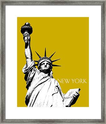 New York Skyline Statue Of Liberty - Gold Framed Print