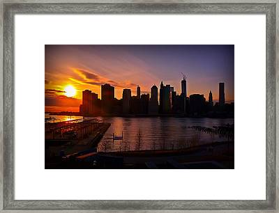 Framed Print featuring the photograph New York Skyline Sunset -- From Brooklyn Heights Promenade by Mitchell R Grosky