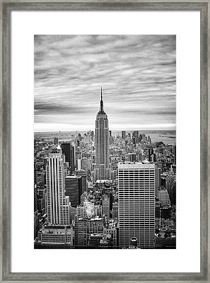 Framed Print featuring the photograph Black And White Photo Of New York Skyline by Dave Beckerman
