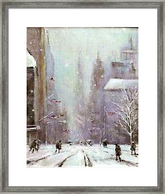 New York Snow Day Framed Print