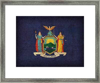 New York State Flag Art On Worn Canvas Framed Print by Design Turnpike