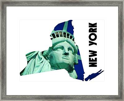 New York State Map Framed Print by Celestial Images