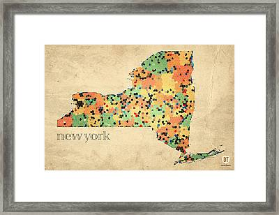 New York State Map Crystalized Counties On Worn Canvas By Design Turnpike Framed Print by Design Turnpike