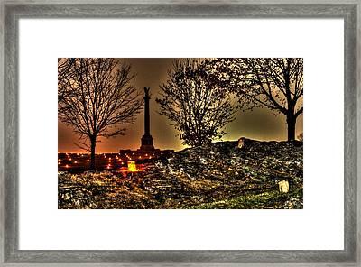 New York State Monument-b1 Antietam National Battlefield Memorial Illumination Framed Print by Michael Mazaika
