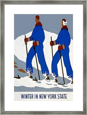 New York State Skiing Poster Framed Print by Charlie Ross