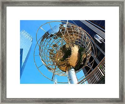 New York Steel Globe Framed Print by Jenny Hudson