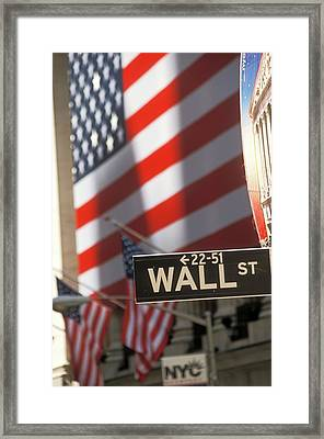 New York Stock Exchange And Wall Street Framed Print by Jim West