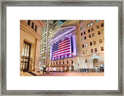 New York Stock Exchange At Night Framed Print