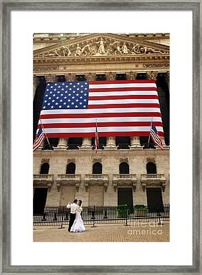 New York Stock Exchange Bride And Groom Dancing Framed Print