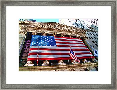 New York Stock Exchange With Us Flag Framed Print