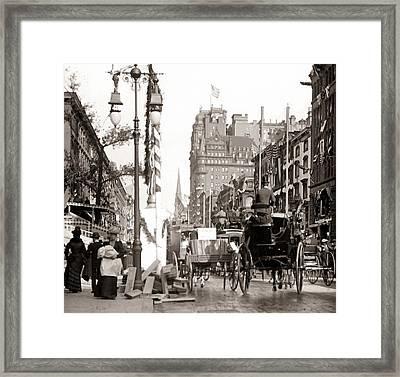 New York Street Scene Framed Print by Unknown