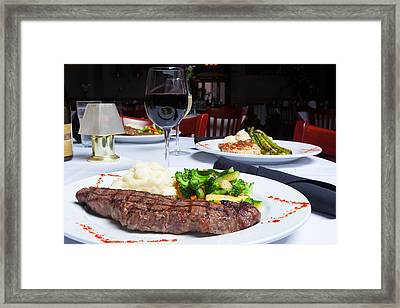 New York Strip Steak With Mashed Potatoes And Mixed Vegetables 4 Framed Print by Erin Cadigan