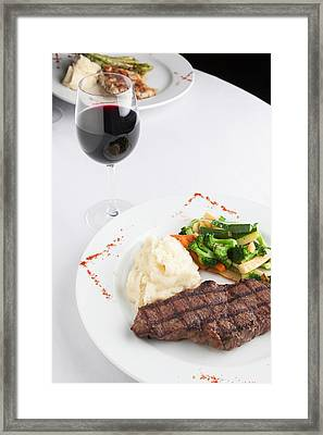 New York Strip Steak With Mashed Potatoes And Mixed Vegetables Framed Print by Erin Cadigan