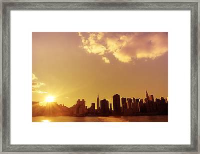 New York Sunset Skyline Framed Print
