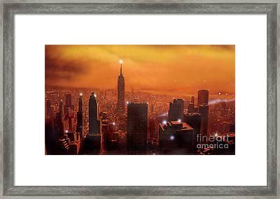 New York Sunset Framed Print