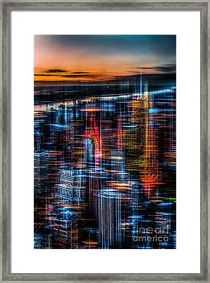 New York- The Night Awakes - Orange Framed Print by Hannes Cmarits