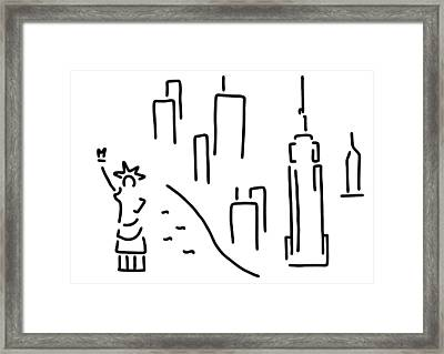 new York the Statue of Liberty skyscraper Framed Print by Lineamentum