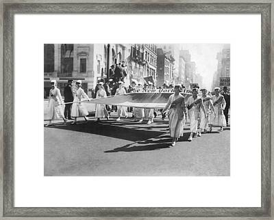 New York Times Flag In Parade Framed Print by Underwood Archives