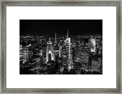 New York Times Square Bw Framed Print by Matt Malloy