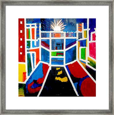 Framed Print featuring the painting New York Times Square  By Janelle Dey by Janelle Dey
