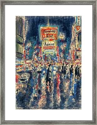New York Times Square - Watercolor Framed Print
