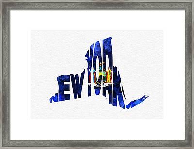 New York Typographic Map Flag Framed Print by Ayse Deniz