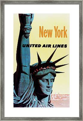 New York United Airlines Framed Print by Mark Rogan