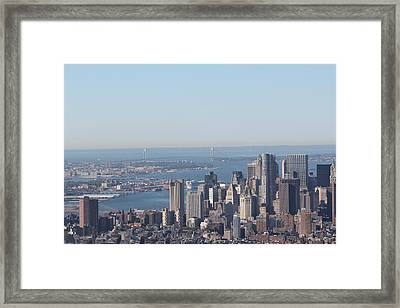 Framed Print featuring the photograph New York View And Verrazano-narrows Bridge by David Grant