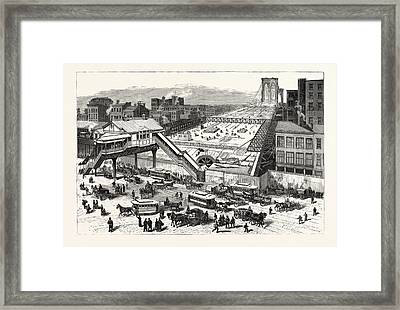 New York View Of The East River Bridge And The Approaches Framed Print by American School