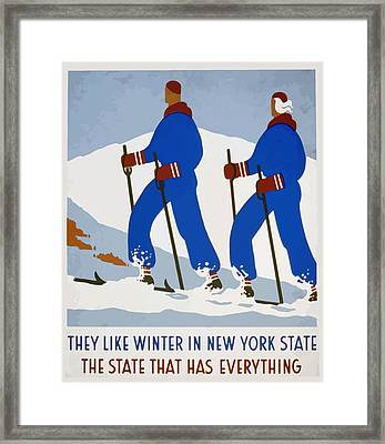 Framed Print featuring the painting New York Vintage Skiing by American Classic Art