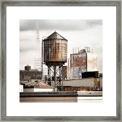 Framed Print featuring the photograph New York Water Tower 16 by Gary Heller