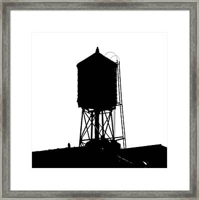 Framed Print featuring the photograph New York Water Tower 17 - Silhouette - Urban Icon by Gary Heller