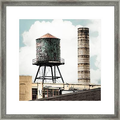 Framed Print featuring the photograph Water Tower And Smokestack In Brooklyn New York - New York Water Tower 12 by Gary Heller