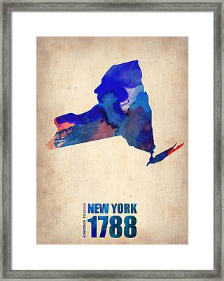 New York Watercolor Map Framed Print by Naxart Studio