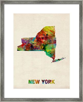 New York Watercolor Map Framed Print by Michael Tompsett