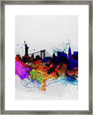 New York  Watercolor Skyline 1 Framed Print by Naxart Studio