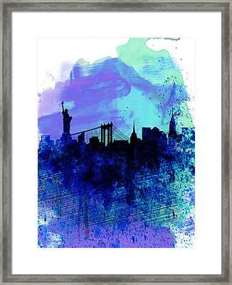 New York  Watercolor Skyline 2 Framed Print by Naxart Studio
